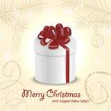 Weihnachtskarte mit einem Geschenk in der Mitte Photorealistic Ausschnittskizze Lizenzfreie Stockfotografie