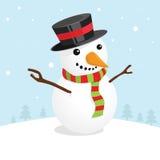 Weihnachtskarte mit einem netten Schneemannvektor Stockbilder
