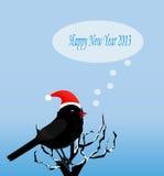 Weihnachtskarte mit einem Vogel Stockbild