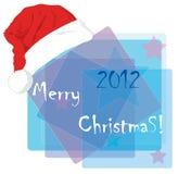 Weihnachtskarte mit einer Schutzkappe von Weihnachtsmann. Lizenzfreies Stockbild