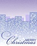 Weihnachtskarte mit einer Winterstadt Stockbilder
