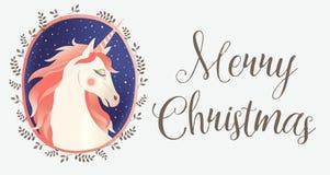 Weihnachtskarte mit Einhorn, Vektorillustrationsschwarzhintergrund lizenzfreies stockbild
