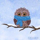Weihnachtskarte mit Eule Stockfoto