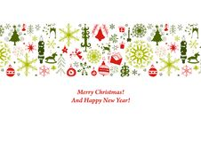 Weihnachtskarte mit flachen Weihnachtsikonen Stockbild