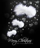 Weihnachtskarte mit flaumigen Engelsflügeln Lizenzfreies Stockbild