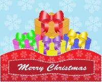 Weihnachtskarte mit Geschenken Stockfotos