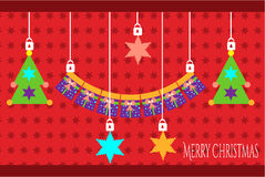 Weihnachtskarte mit Geschenken und Rotsternen Stockfotos