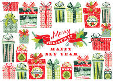 Weihnachtskarte mit Geschenkkästen Auch im corel abgehobenen Betrag Stockfotografie