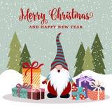 Weihnachtskarte mit glücklichem Gnomen und Geschenken lizenzfreie abbildung
