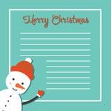 Weihnachtskarte mit glücklichem Schneemann Lizenzfreie Stockfotos