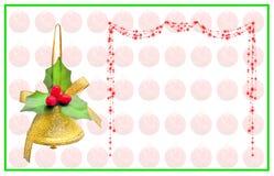 Weihnachtskarte mit Glocke, Schreibensbogen und roten Bällen stockbild