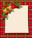 Weihnachtskarte mit Glocken, Stechpalme, Kegeln, Bällen, Poinsettia und Schottenstoff Vektor EPS-10 Stockfotos