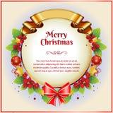 Weihnachtskarte mit goldenem Band Stockfoto