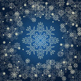 Weihnachtskarte mit goldenen Schneeflocken auf dunkelblauem Hintergrund Stockbild