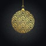 Weihnachtskarte mit Goldkugel stock abbildung