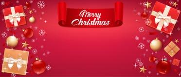 """Weihnachtskarte mit Gruß â€ """"frohen Weihnachten Illustration mit Weihnachtsbällen, -sternen, -Geschenkboxen und -platz für Text stock abbildung"""