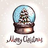 Weihnachtskarte mit Hand gezeichnetem Snowglobe Stockbild