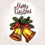 Weihnachtskarte mit Hand gezeichneten goldenen Bell Stockfotografie