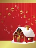 Weihnachtskarte mit Haus Stockbilder