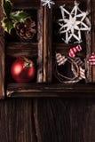 Weihnachtskarte mit Kasten Spielwaren Lizenzfreie Stockfotos