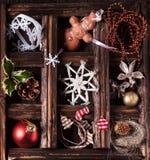 Weihnachtskarte mit Kasten Spielwaren Lizenzfreie Stockfotografie