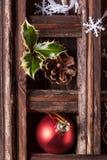 Weihnachtskarte mit Kasten Spielwaren Stockfotografie