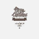 Weihnachtskarte mit klassischen Elementen als Hintergrund mit Gruß der frohen Weihnachten und des guten Rutsch ins Neue Jahr Lizenzfreie Stockfotografie