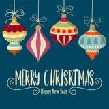 Weihnachtskarte mit Kugeln lizenzfreie abbildung