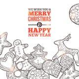 Weihnachtskarte mit Lebkuchen Lizenzfreie Stockfotografie
