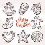 Weihnachtskarte mit Lebkuchen Stockfoto