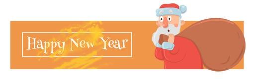 Weihnachtskarte mit lustiger Santa Claus, die großen Geschenkesack trägt Santa Claus schaut verwirrt und verwirrt Weihnachten vektor abbildung