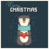 Weihnachtskarte mit nettem Pinguin Lizenzfreies Stockbild