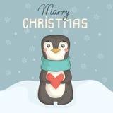 Weihnachtskarte mit nettem Pinguin Stockbild