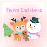 Weihnachtskarte mit nettem Rotwildschneemann und -baum lizenzfreie abbildung