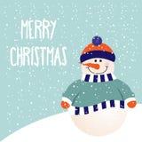 Weihnachtskarte mit nettem Schneemann Stockbild