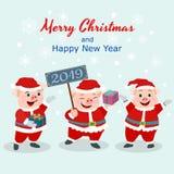 Weihnachtskarte mit nettem Schwein in Sankt-Kleid lizenzfreie abbildung