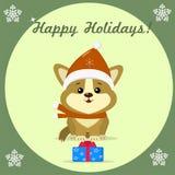 Weihnachtskarte mit nettem Welpe Corgi vektor abbildung