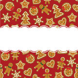 Weihnachtskarte mit Plätzchen Lizenzfreie Stockfotografie