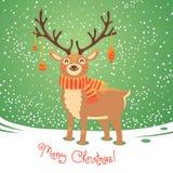 Weihnachtskarte mit Ren Nette Karikatur-Rotwild Lizenzfreies Stockfoto
