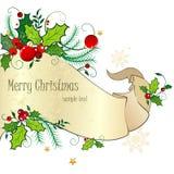 Weihnachtskarte mit Rolle Stockfoto