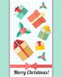 Weihnachtskarte mit rotem Band und Geschenken Stockbild
