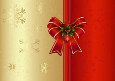 Weihnachtskarte mit rotem Bogen Lizenzfreie Stockfotos