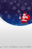 Weihnachtskarte mit roter Sankt und weißem Schnee Lizenzfreie Stockfotos