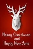 Weihnachtskarte mit Rotwild Stockfotos