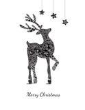 Weihnachtskarte mit Rotwild auf Weiß Stockbilder