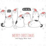 Weihnachtskarte mit Sankt-Katzen Lizenzfreies Stockfoto
