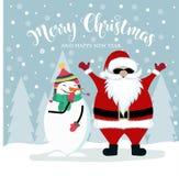 Weihnachtskarte mit Sankt und Schneemann lizenzfreie abbildung