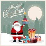 Weihnachtskarte mit Sankt-, Weihnachtsbaum und Geschenken vektor abbildung