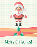 Weihnachtskarte mit Santa Claus über Schreibheftseite Lizenzfreies Stockfoto