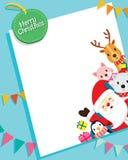 Weihnachtskarte mit Santa Claus And Animals Lizenzfreie Stockfotos